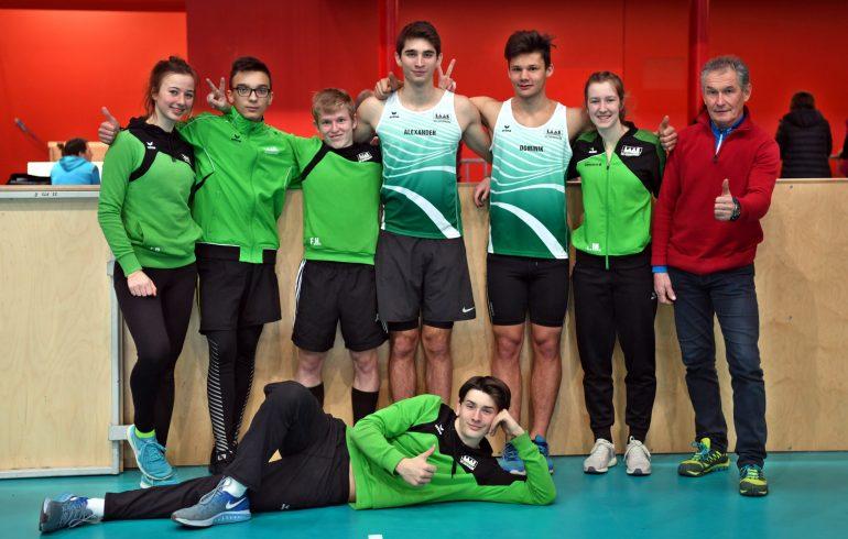 das leichtathletik-team von vst laas völkermarkt; indoor meisterschaft 2019; sportpark klagenfurt; leichtathletik.