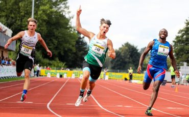 KLAGENFURT,AUSTRIA,06.SEP.20 - ATHLETICS - OELV, Austrian under-18 and under-23 Championships, 100m. Image shows David Vogelauer (AUT), the rejoicing of Stephan Pacher (AUT) and Enakhe Edegbe (AUT). Photo: GEPA pictures/ Matic Klansek
